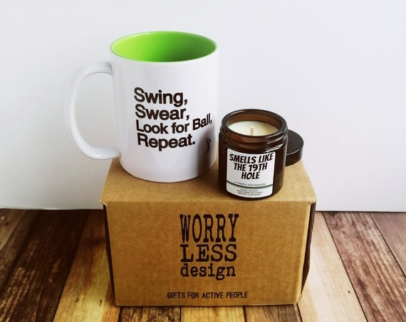 Golf Gifts - Golf Mug and Candle Set. Gifts for Golfers, Golf Gifts for Men, Coffee Mug for Golfer, Golf Gifts for Dad, Gift for Golf Lover