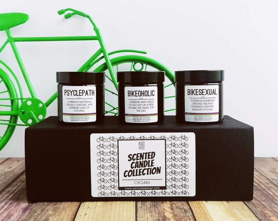 Scented Candle Set - Cycling Definitions Collection. Psyclepath, Bikesexual and Bikeoholic - Presents for Cyclists