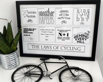 A3 Framed Print - The Laws of Cycling. Gift for Cyclist, Cycling Gifts. Cyclist Gift, Bike Gift, Cycling Print, Bicycle
