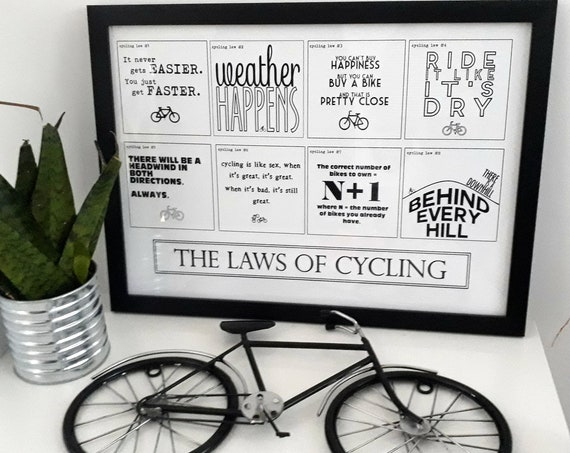 Cycling Gift. A3 Framed Print - The Laws of Cycling. Gift for Cyclist, Cycling Gifts. Cyclist Gift, Bike Gift, Cycling Print, Bicycle