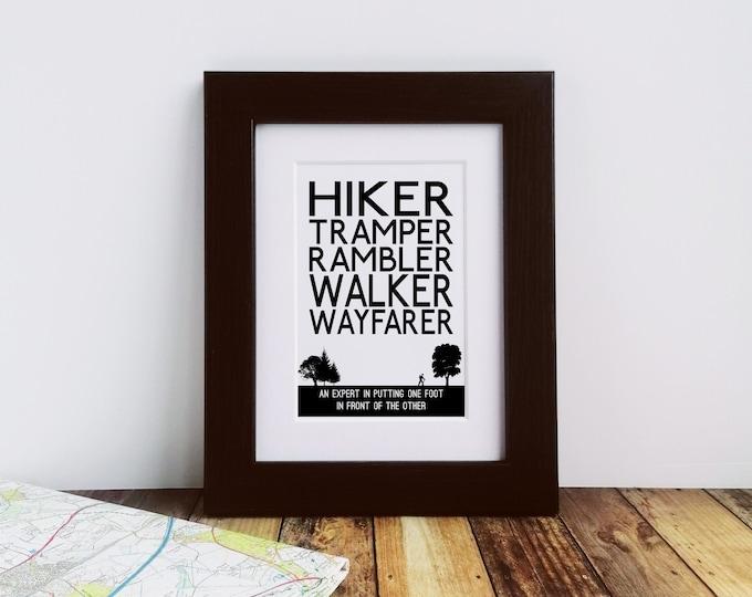 Walking Gift - Walker Definitions. Framed Print. Rambler Gift, Hiker Gift, Gift for Hikers, Hiking Gift, Letterbox Gift