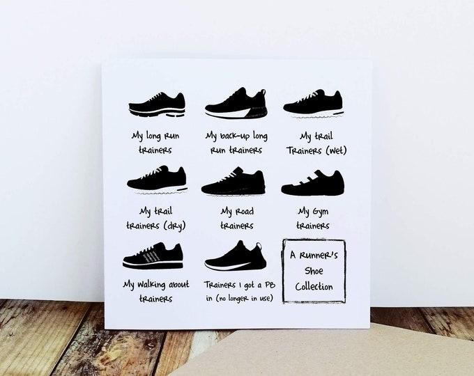 A Runner's Shoe Collection - Running Card, Runner Card, Card for Runner, Marathon Card, Half Marathon Card, Funny Running Card, Sporty Card