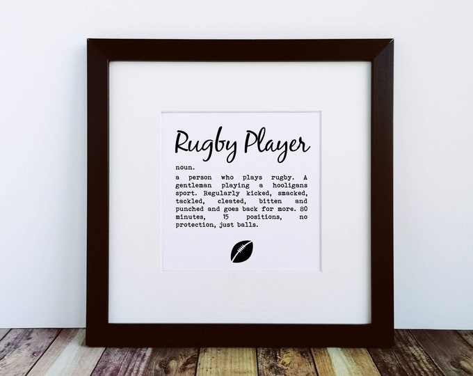 Large Framed Print - Rugby Player Definition - Gifts for Rugby Fans