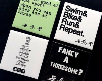 8a1c8325 Triathlon Gift, Triathlon Magnet Set. Gift for Triathlete. Swim Bike Run.  Ironman Gift. Funny Triathlon Gift. Gift for Triathlon.
