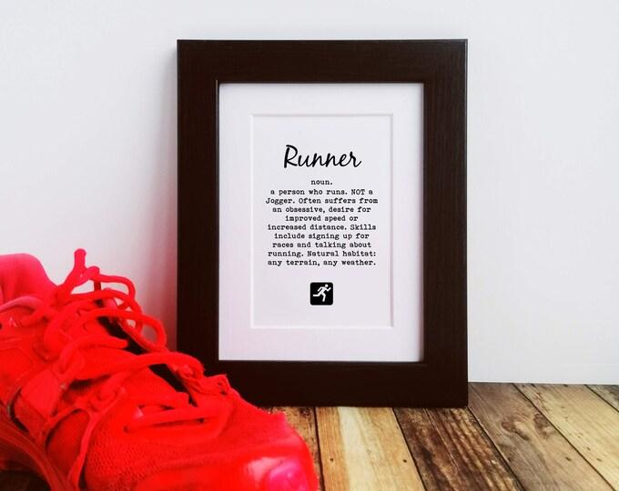 Framed or Mounted Print - Runner Definition - Gifts for Runners Men