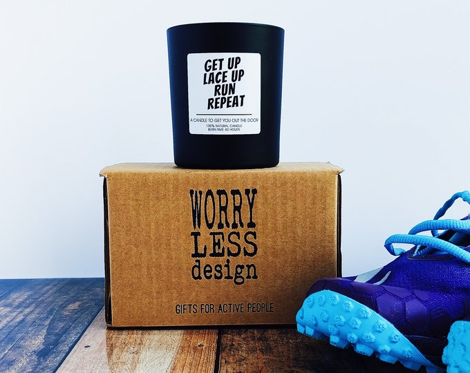 Scented Candle - Get up Lace Up Run Repeat - Running Themed Candle