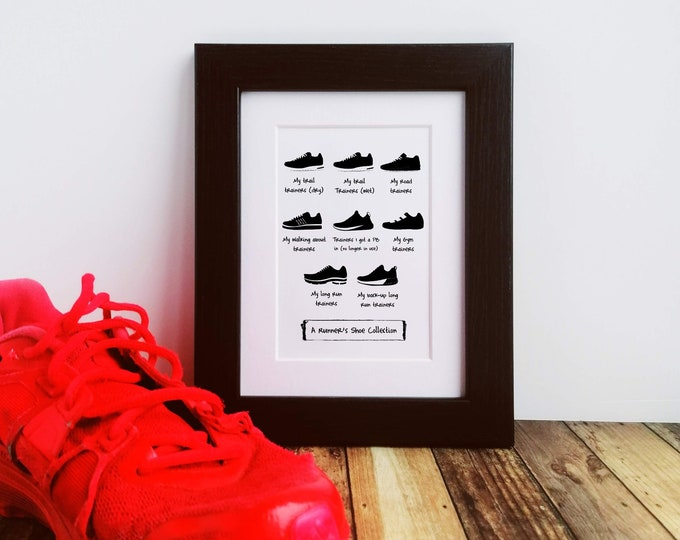 Framed or Mounted Print - A Runner's Shoe Collection - Gifts for Runners Men