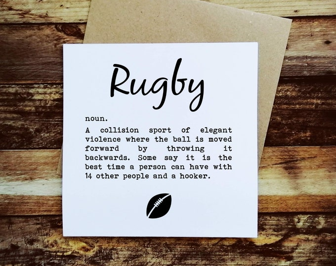 Greetings Card - Rugby Definition - Rugby Gifts