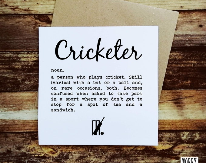Greetings Card - Cricketer Definition - Cricket Presents