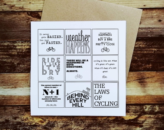 Cycling Card - The Laws of Cycling - Presents for Cyclists