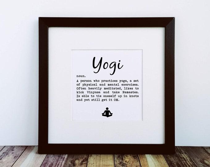 Large Framed Print - Yogi Definition - Yoga Presents