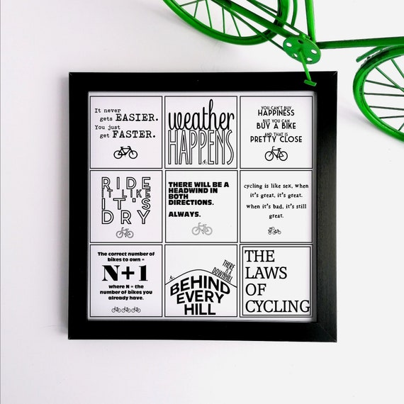 The Laws of Cycling - Cycling Print, Cycling Wall Art, Cycling Poster, Cycling Gift, Gift for Cyclist, Funny Cycling Gift