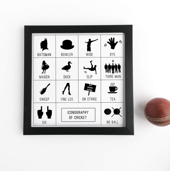 Cricket Gift. Iconography of Cricket, Framed Print. Cricket Wall Art, Cricket Lover Gift, Cricket Player Gifts, Cricket Gift Ideas