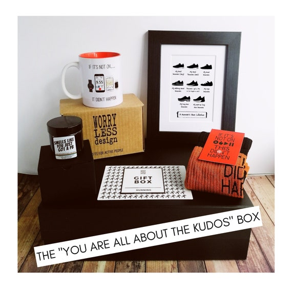 "Runner Gifts - Running Gift Set – The ""You are all about the Kudos"" Box. Running Gifts. Gift Box for Runner. Gifts for Runners."