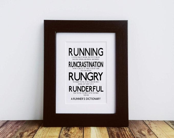 Framed or Mounted Print - A Runner's Dictionary - Best Gifts for Runners