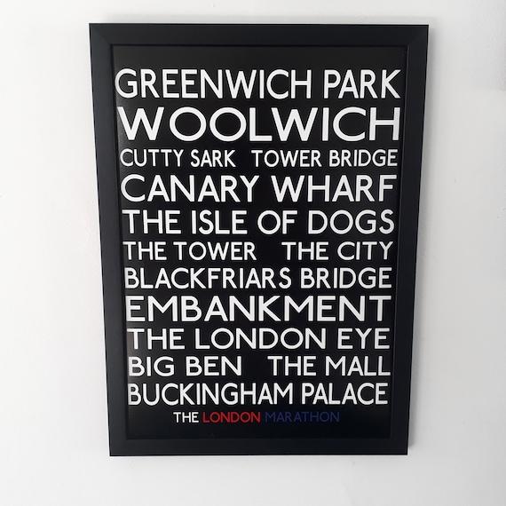 London Marathon Gift. A3 Framed Poster - London Landmarks.  Perfect gift for Marathoner. Great Marathon Gift and Half Marathon Gift