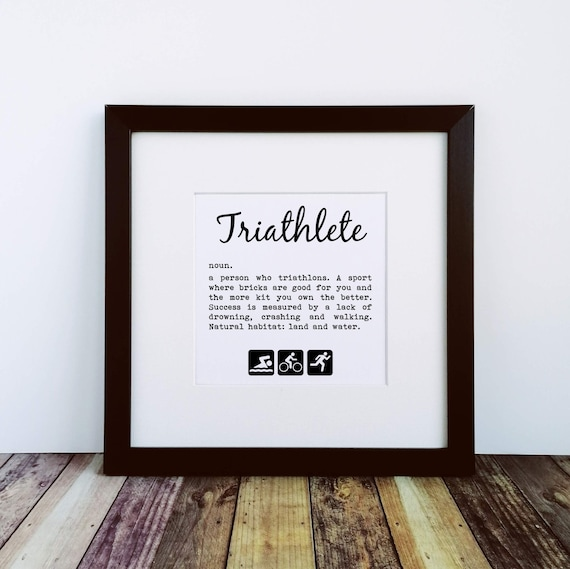 Triathlon Gifts, Triathlete Definition. Large Framed Print. Gift for Triathlete, Ironman Gifts, Ironman Triathlon, Triathlon Wall Art
