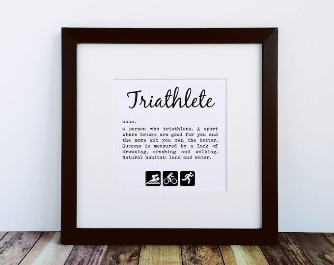 Large Framed Print - Triathlete Definition - Gifts for Triathletes