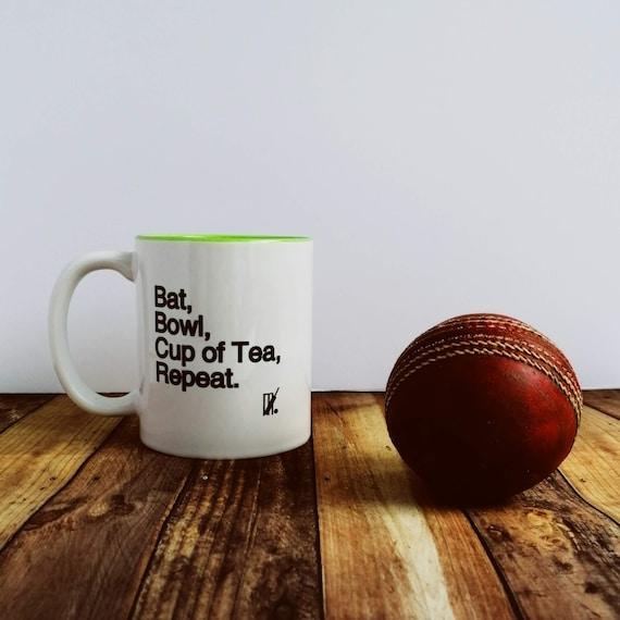 Cricket Gifts. Bat, Bowl, Cup of Tea.... Cricket Mug, Cricket Player Gift, Cricket Gift Idea.