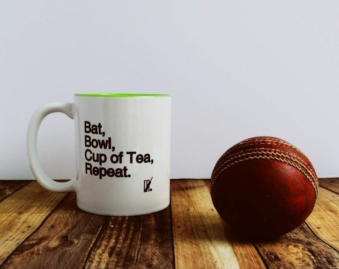 Mug - Bat, Bowl, Cup of Tea....  Gifts for Cricket Lovers