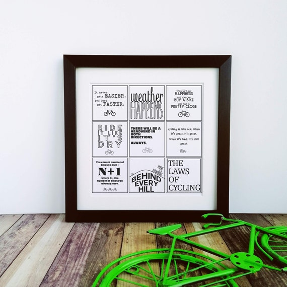 Cycling Gifts, The Laws of Cycling, Large Print. Cyclist Birthday, Cycling Gifts for Men, Cycling Prints, Cyclist Art, Cycling Art