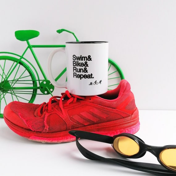 Swim Bike Run Repeat. Triathlon Gift, Triathlon Mug, Gift for Triathlete, Triathlete Gift, Ironman Gift, Triathlon Gifts, Gifts for Tri