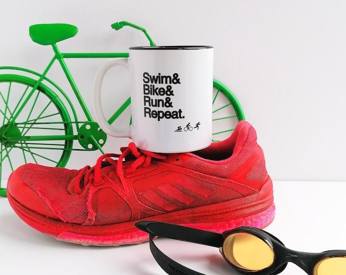 Triathlon Gifts. Swim Bike Run Repeat. Triathlon Mug, Ironman Gifts. Half Ironman Gifts.