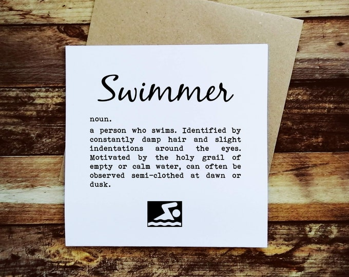 Greetings Card - Swimmer Definition - Open Water Swimming Gifts