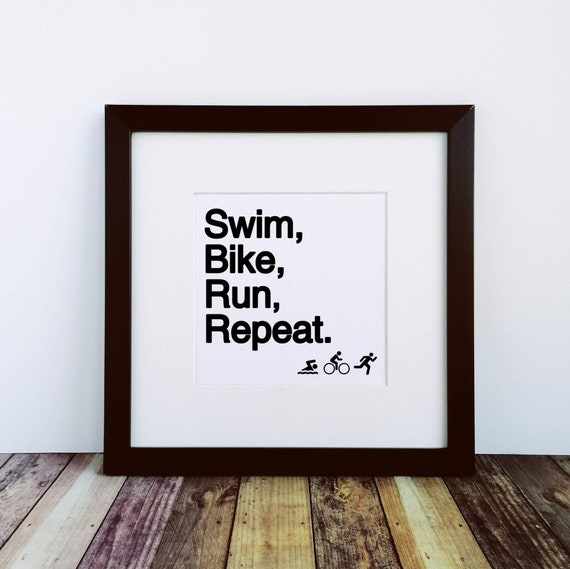 Triathlon Gifts. Swim Bike Run Repeat. Large Framed Print, Gift for Triathlete, Ironman Gifts, Ironman Triathlon, Triathlon Wall Art