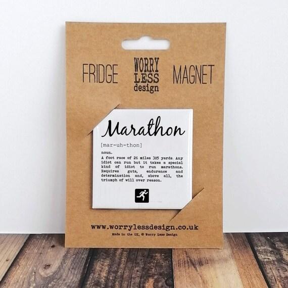 Marathon definition. Fridge Magnet. Marathon Gift, Marathoner Gift, Gift for Marathon. Running Gift, Runner Gift, Marathon Magnet, Funny.