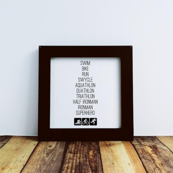 Triathlon Gifts - Triathlon Superhero. Small Framed Print. Ironman Gifts, Half Ironman, Ironman Triathlon. Gift for Triathlete. Wall Art.