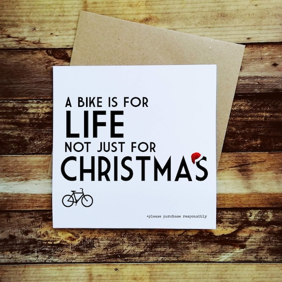 Cycling Christmas Card - A Bike is for Life - Christmas Card for a Cyclist