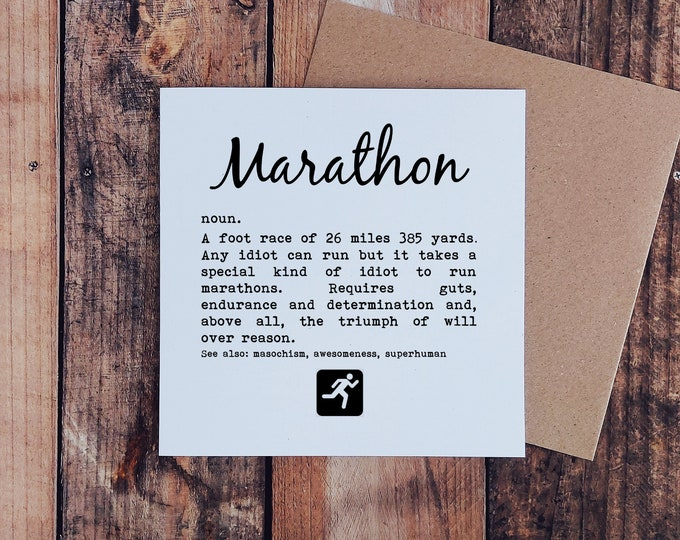 Greetings Card - Marathon Definition - Gifts for Marathon Runners