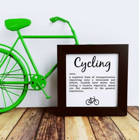 Cycling Gift, Cycling Definition, Small Framed Print, Cyclist Birthday, Cycling Gifts for Men, Cycling Prints, Cyclist Wall Art, Cycling Art