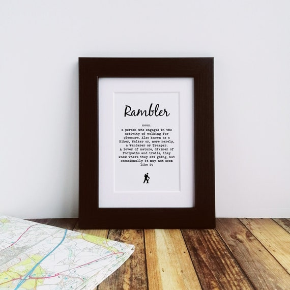 Framed or Mounted Print - Rambler Definition - Presents for Ramblers