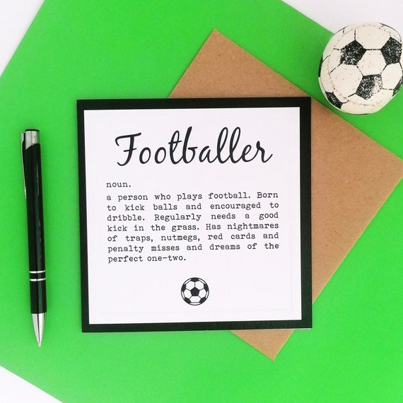 Greetings Card - Footballer Definition - Football Presents