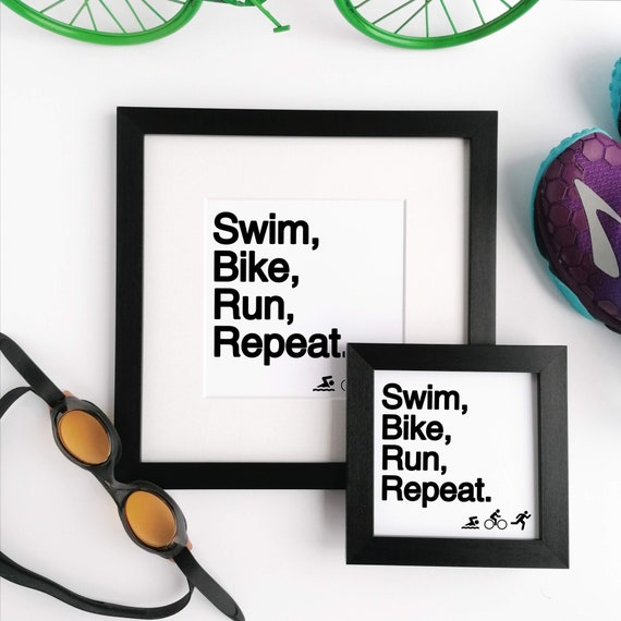 Triathlon Gift. Framed Print, Swim Bike Run Repeat. Gift for Triathlete, Ironman Gift, Ironman Triathlon, Triathlete Gift, Triathlon Gifts,