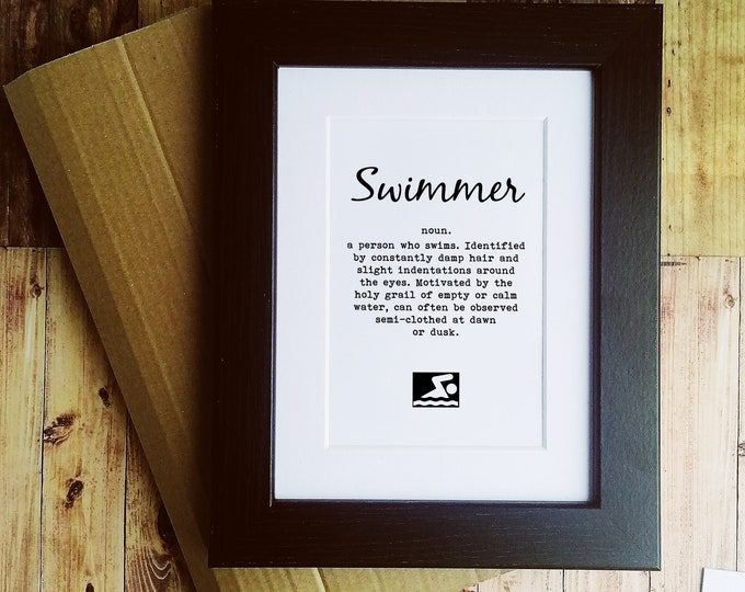 Framed or Mounted Print - Swimmer Definition - Presents for Swimmers