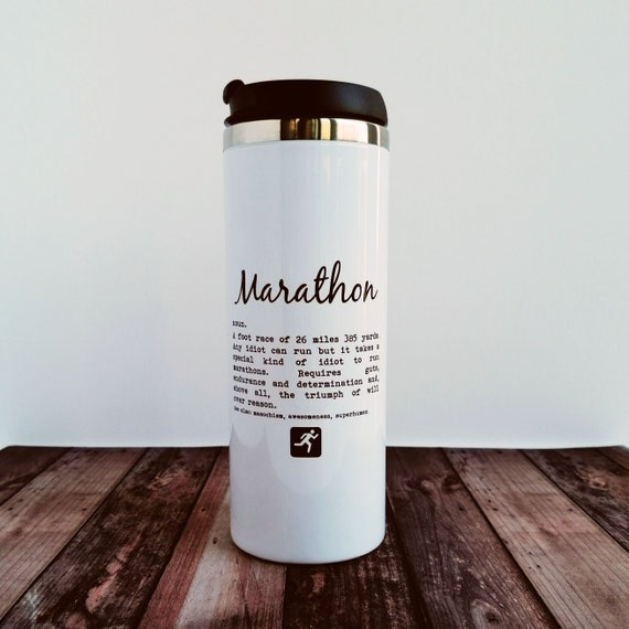 Marathoner Gift - Marathon Definition. Travel Mug. Marathon Training Gift, Marathon Runner Gift.