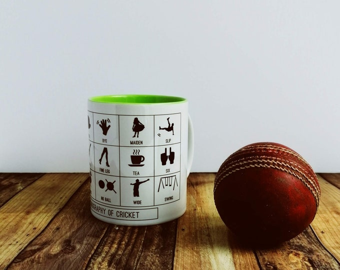 Cricket Gifts - Iconography of Cricket. Cricket Mug. Cricket Sport Gifts, England Cricket, Funny Cricket Gift, Cricket Coach Gift