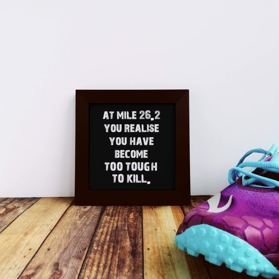 Marathon Gift - At mile 26.2 you realise.... Small Framed Print. Gift for Marathon Runner. Marathoner Gift, Funny Marathon Gift