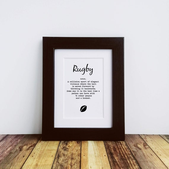 Rugby Gifts - Rugby. Framed or Mounted Print. Letterbox Gifts. Funny Rugby Gift, Gift for Rugby Fan, Rugby Coach Gift, Rugby Gifts for Men