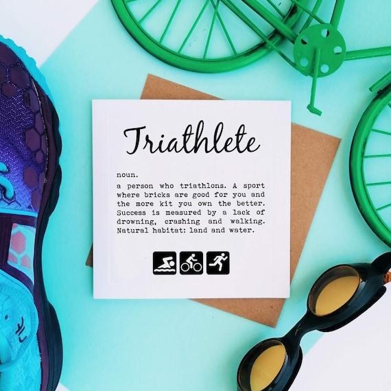 Triathlon Card, Triathlete Definition. Triathlete Card, Tri Card, Swim Bike Run, Triathlon Cards, Women Triathlete, Ironman Triathlon Card
