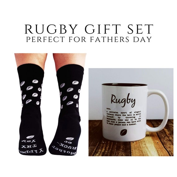 Rugby Gift - Rugby Definition Mug and Rugby themed Socks. Rugby Gift Set, Rugby Mug, Rugby Fathers Day , Rugby Gifts. Funny Rugby Quote.