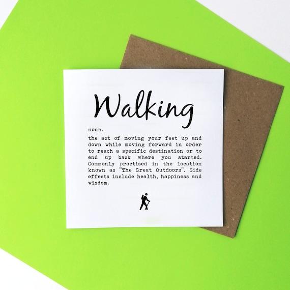 Walking Card - Walking Definition. Walkers Card, Hiking Card, Rambler Card, Card for Ramblers, Hiker Greetings Card, Hiker Card, Wanderlust