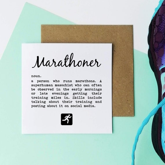 Marathoner....Running Card, Runner Card, Card for Runner, Marathon Card, Half Marathon Card, Funny Running Card, Sporty Card