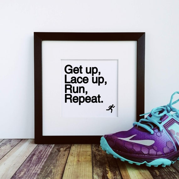 Runner Gifts, Get up, Lace up, Run. Large Framed Print, Gifts for Runners, Running Gifts for Men, Marathoner Gift, Running Gift, Runner Gift