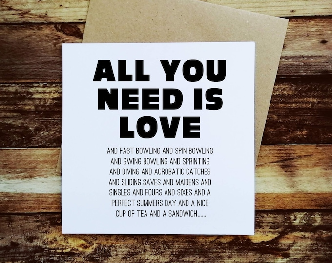 Greetings Card - All you need is love and Cricket - Gifts for Cricket Lovers