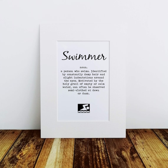 Swimming Gift - Swimmer Definition - Mounted Print, Gift for Swimmer, Swimmer Gift, Swimming Print. Swim Gift. Swimmer Gifts. Swimming Art.