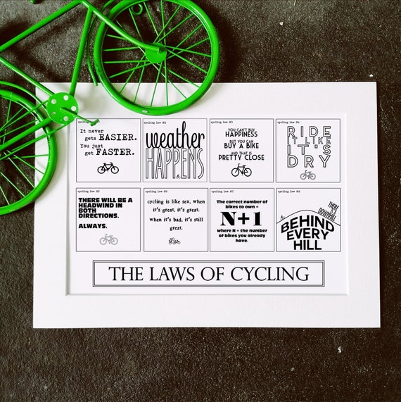 The Laws of Cycling - Cycling Print, Cycling Wall Art, Cycling Gift, Gift for Cyclist, Funny Cycling, Mounted Cycling Art, cycling gifts men